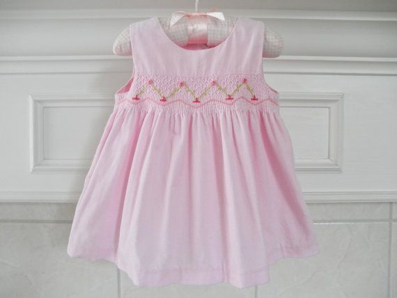 Baby Girls Pink Dress Smocked Clothing by ThePoshBabyShoppe