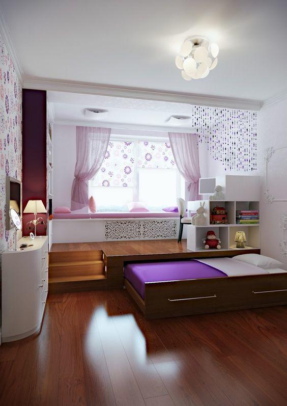 Детская с рабочей/офисной частью поднятой на подиуме и кроватью прячущейся в подиум. .
