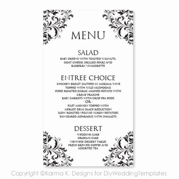 Wedding Menu Card Template Download Instantly By Printable Menu Cards Wedding Menu Cards Menu Card Template