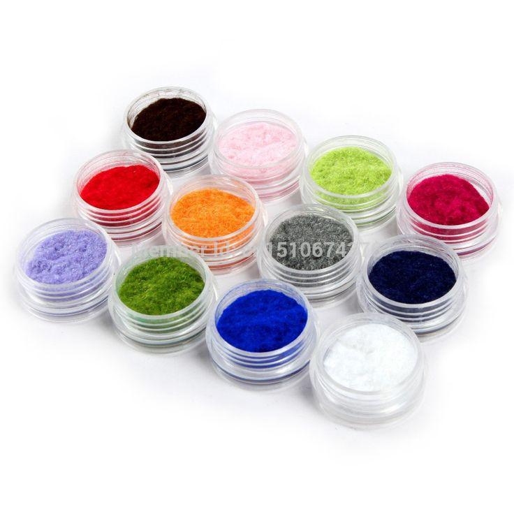 Gorąca sprzedaż 12 kolor 3d nail art dekoracje velvet flokowanie proszek akrylowy polski porady manicure