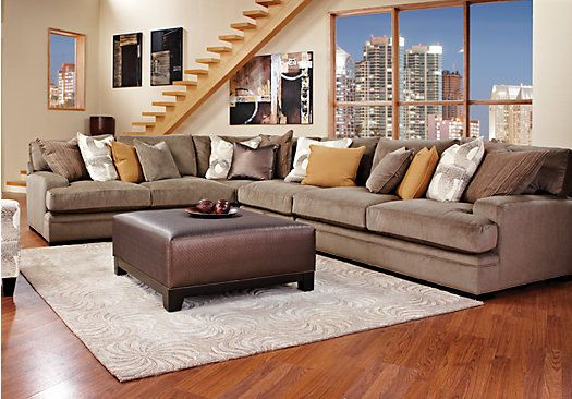 Picture of cindy crawford home fontaine 5 pc sectional for Cindy crawford living room furniture