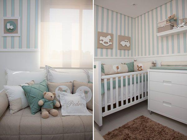 Já mostamos aqui alguns quartos de bebê decorados em bege e azul, uma combinação suave de cores que faz sempre muito sucesso! Desta vez, a combinação é um
