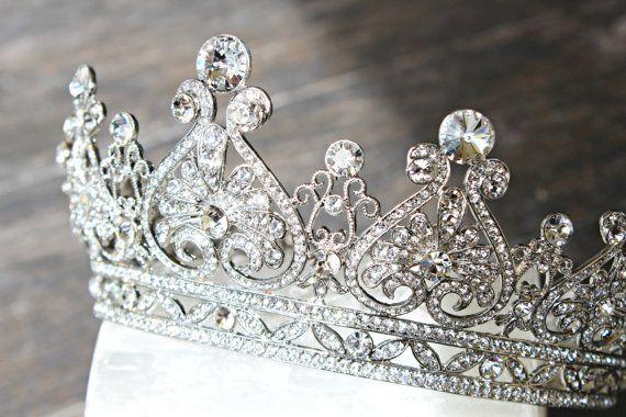 Full Bridal Crown Scroll Heart Swarovski Crystal by EdenLuxeBridal