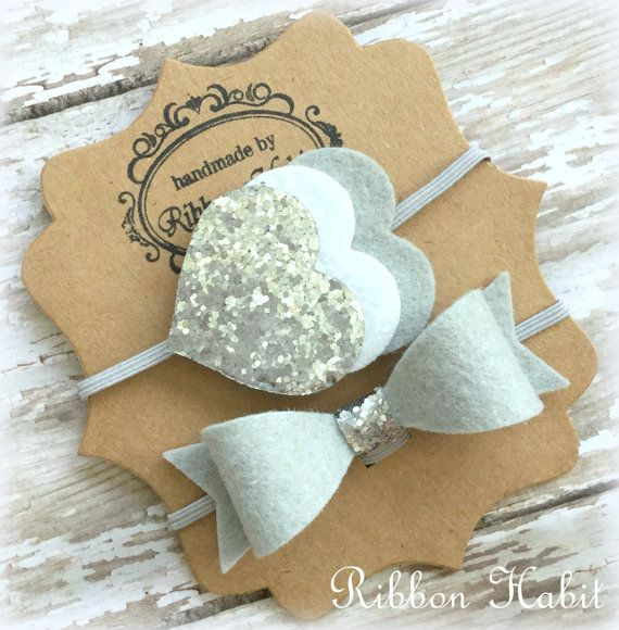Silver Baby Headbands set, glitter hearts headband, Newborn Felt Headband Set