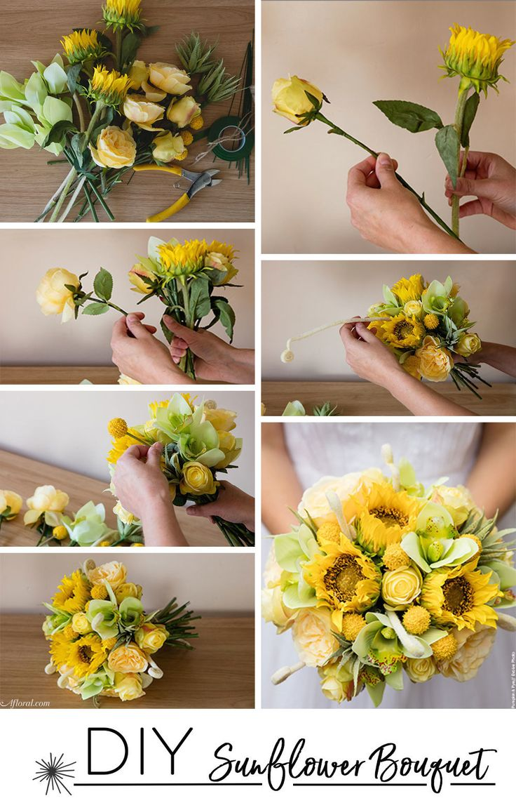 Learn how to make this sunflower wedding bouquet with artificial flowers from Afloral.com.