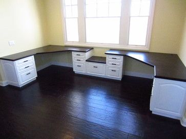 """good layout for 2 desks in ordinary shaped room"" ""Space for printer between the built-in desks."" ""This is better than trying to find a desk to fit the spot. Make one."""