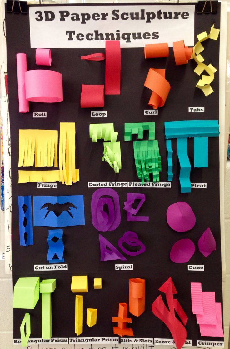 3D Paper Sculpture Techniques Chart