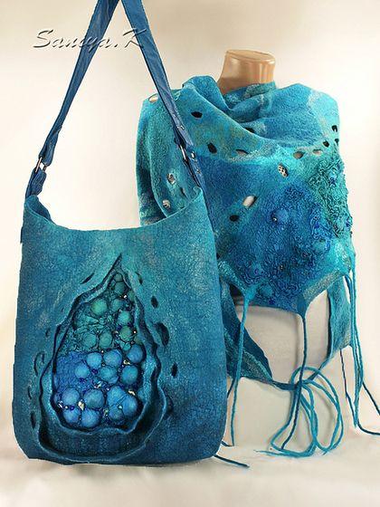 """Сумка & Шарф """"Бирюзовый"""" женские - тёмно-бирюзовый,абстрактный,купить шарф женский"""
