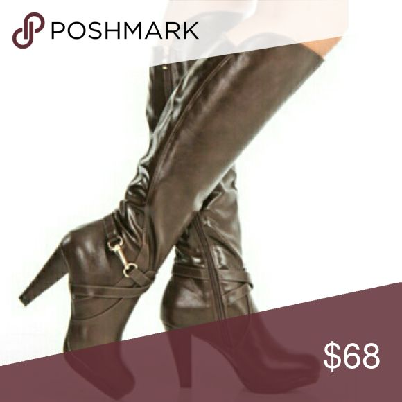 Womens boots Whitney Over-the-Knee Buckled boots in brown Shoes Over the Knee Boots