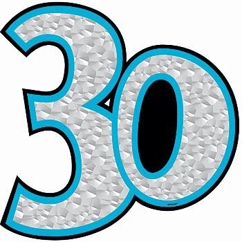 The 30th Birthday Prismatic Cutout features the number 30 ...