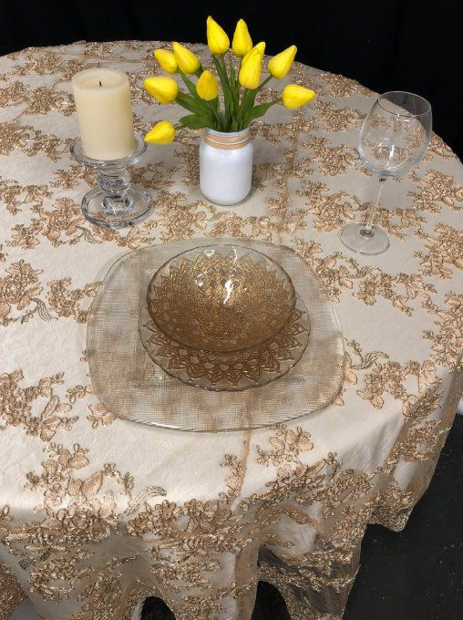 Gold Lace Tablecloth, Gold Table Overlay, Lace Table Overlay, Table  Overlay, Table