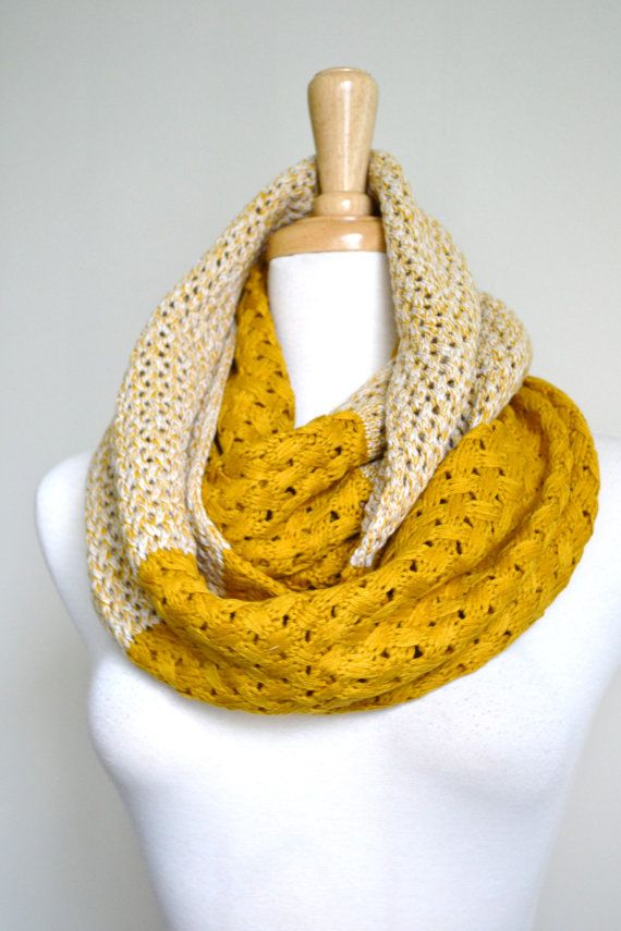 Mustard Yellow Chunky Knitted Woven Pattern and Solid mix Infinity Loop Circle Scarf Women's Snood Cowl (two coordinating colors, two different patterns in the same scarf)