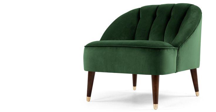 Margot fauteuil, bosgroen fluweel