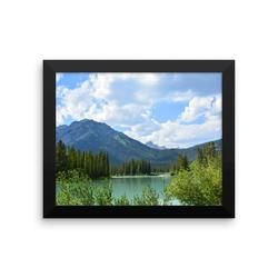 Framed photo paper poster: The Rockies from Banff, Alberta