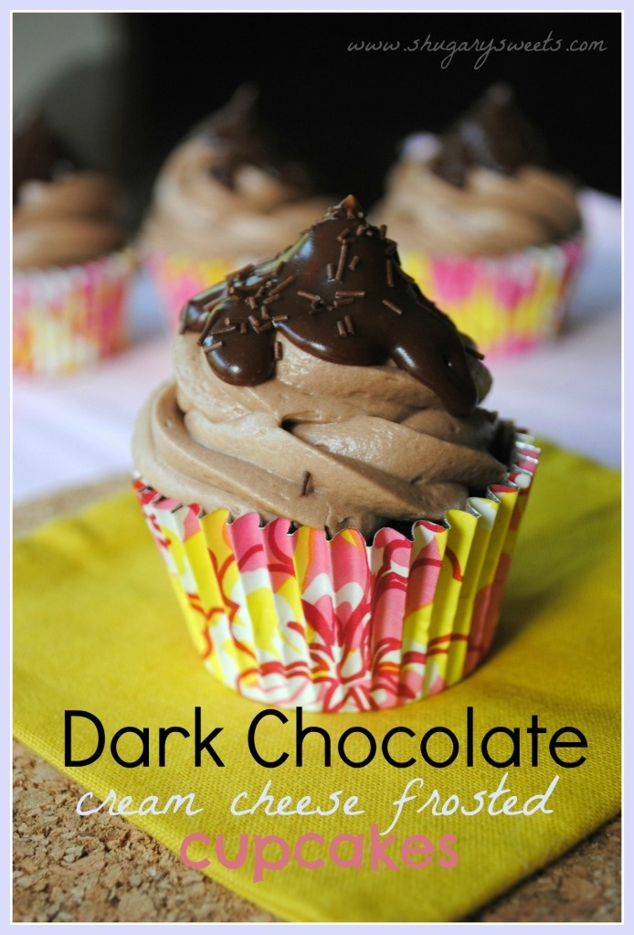 Dark Chocolate Cupcakes with Chocolate Cream Cheese Frosting and Chocolate Ganache @shugarysweetsChocolates Cream, Chocolate Cupcakes, Dark Chocolates, Chocolates Cupcakes, Shugary Sweets, Frostings Cupcakes, Cheese Frostings, Cream Cheese Frosting, Cream Cheeses