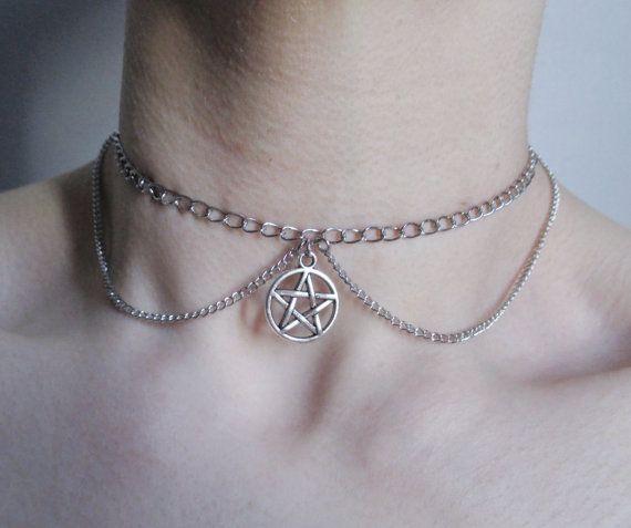 pentagram chain choker, pentacle necklace, pastel goth, grunge, gothic choker