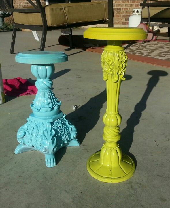 Took a broken candle stick, spray painted it bright fun colors, hot glued a wood top on it (from hobby lobby) & BAM! You have a 2 hat displays!!