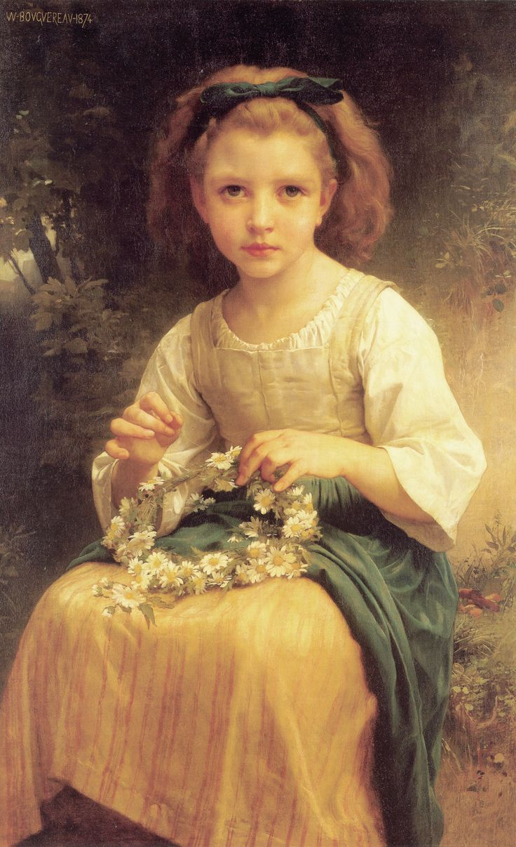 William-Adolphe Bouguereau, Child Braiding A Crown