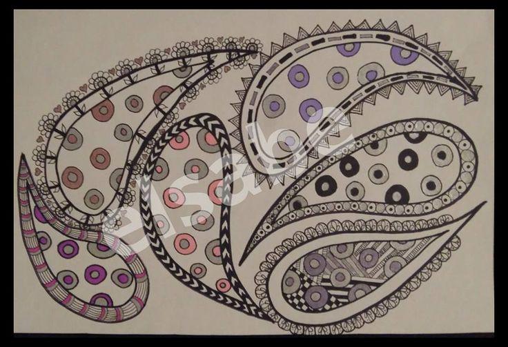 Pretty paisleys - zentangle art