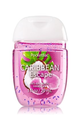 Caribbean Escape - PocketBac Sanitizing Hand Gel - Bath & Body Works - Now with more happy! NEW PocketBac is perfectly shaped for pockets & purses, making it easy to fight germs on-the-go! Plus, our all-new skin softening formula contains powerful germ-killers that keep your hands clean & soft.