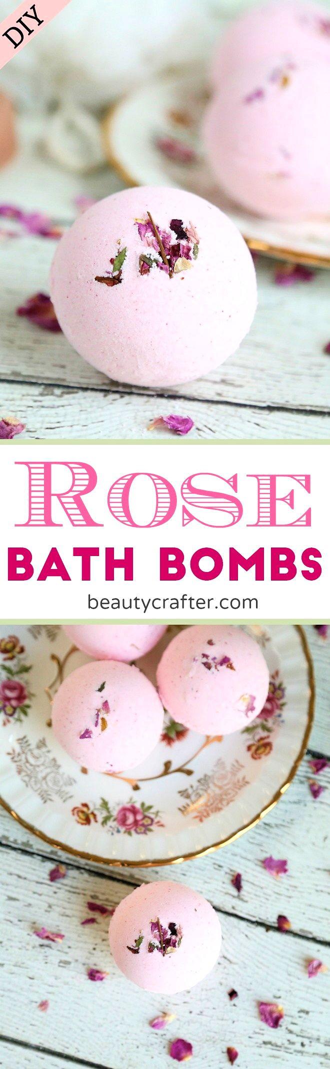 DIY Rose Bath Bombs recipe #bathbombs #rose #roses  #valentinesday via @beautycrafts