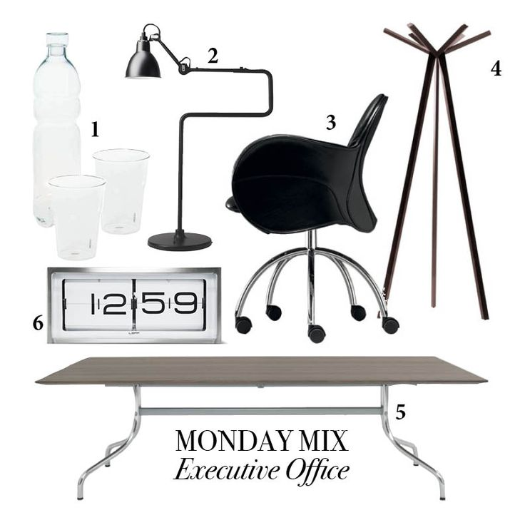MONDAY MIX: Executive Office 1. Seletti glass water bottle and drinking glasses 2. Lampe Gras table lamp No317 BL-SAT 3. Incisa chair by Vico Magistretti for De Padova. 4. Rokumaru coatstand by Nendo for De Padova. 5. Shine table by Vico Magistretti for De Padova 6. Leff Amsterdam Brick desk/wall clock in steel and white. Email info1@generationdesign.co.za for more information.