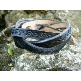 Buy Braided Leather Bracelet, hand tooled leather bracelet