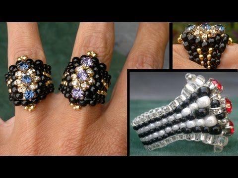 """Beading4perfectionists : """"The Biker-Chick"""" ring Swarovski montee / miyuki ring beading tutorial - YouTube"""