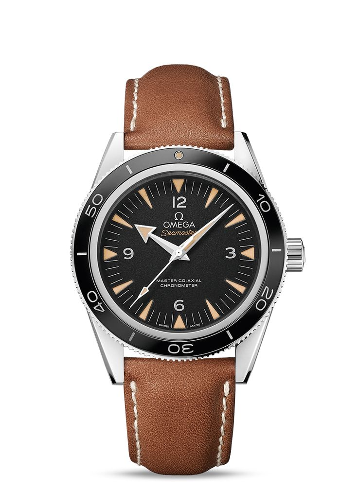"The Seamster 300 Omega Master Co-Axial 41mm.   OMEGA first introduced the Seamaster 300 in 1957 - it was a watch designed especially for divers and professionals who worked underwater. More than half a century later, the timepiece makes a comeback in a completely upgraded and enhanced form, ready for a new generation of adventurers. This Seamaster 300 has a sand-blasted black dial with rhodium-plated hands coated with  ""vintage"" Super-LumiNova."