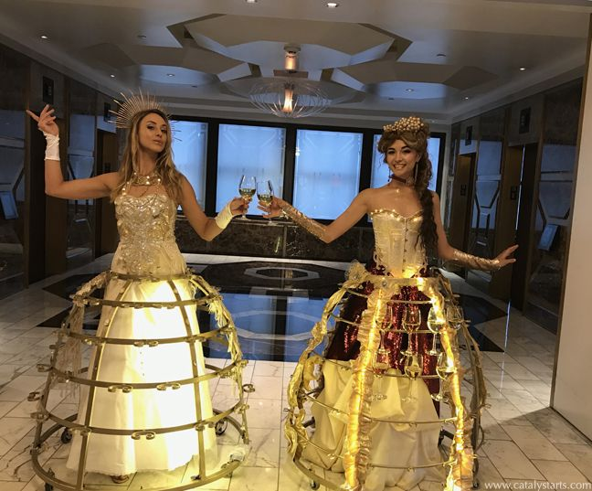 Wine Dress & Champagne Skirt for San Francisco Wedding- hospitality entertainment by Catalyst Arts California