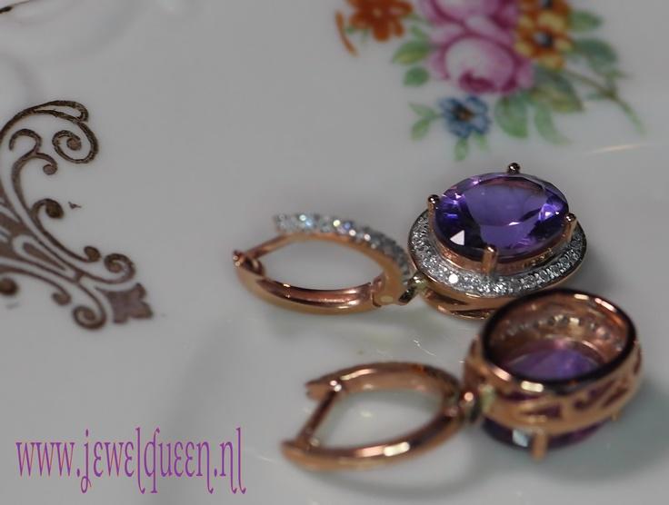 """14 karaat rose gouden oorbellen """"huggie    hoop"""" met natuurlijke amethist en diamant, vintage antique style     www.jewelqueen.nl"""