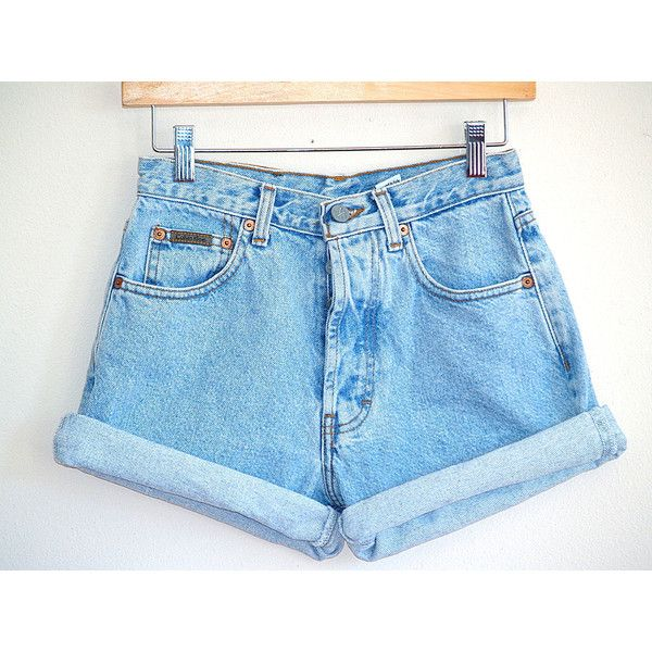 Vintage 90's High Waisted Denim Shorts Calvin Klein Size 3 ($8.12) ❤ liked on Polyvore featuring shorts, high-waisted shorts, high-waisted denim shorts, calvin klein shorts, vintage shorts and high rise shorts
