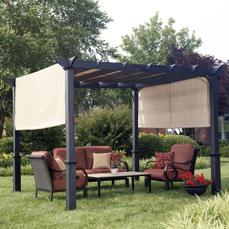 Our 4 Favorite Patio Pergola And Deck Lighting Design Tips: Shop Garden Treasures Matte Black Steel Freestanding