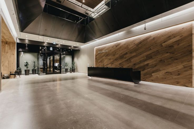 Salvaged walnut wood is used throughout the lobby