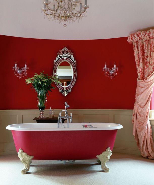 Интерьер, стиль, дизайн, подвесные лампы, зеркала, красные интерьеры