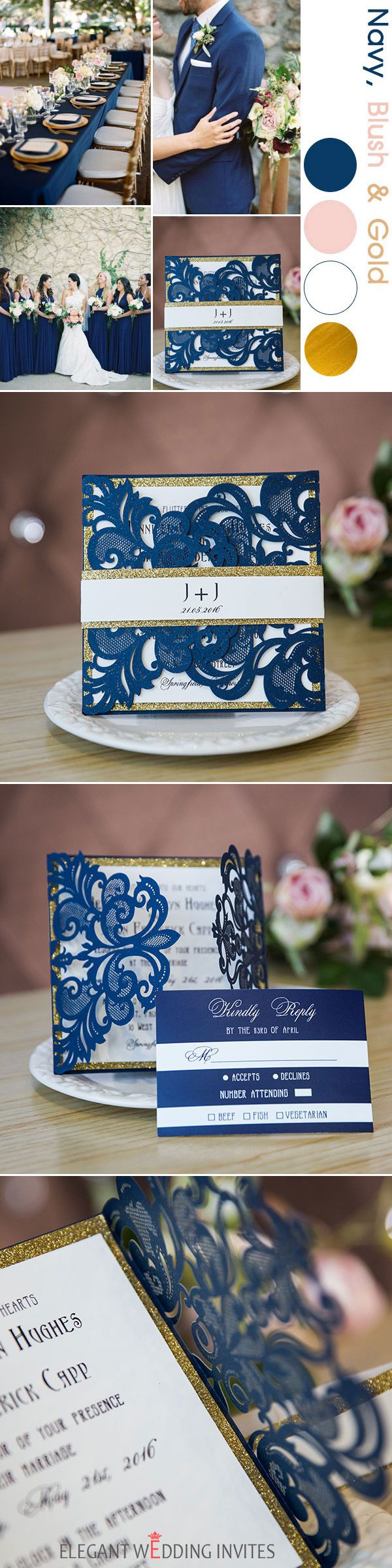 as low as $2.29 - navy blue and gold glitter laser cut invitations EWWS136
