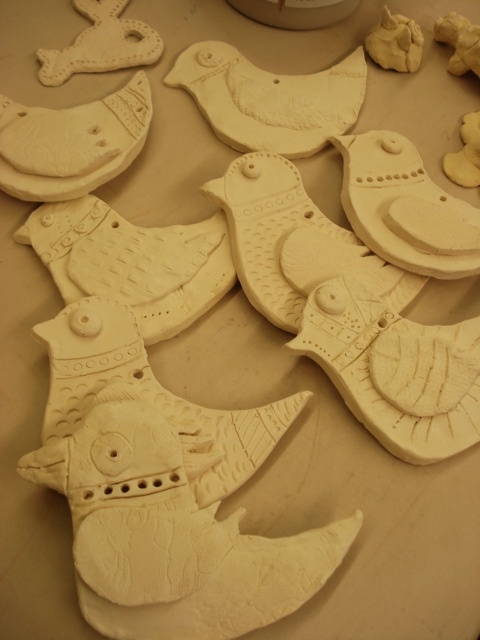 clay slab birds