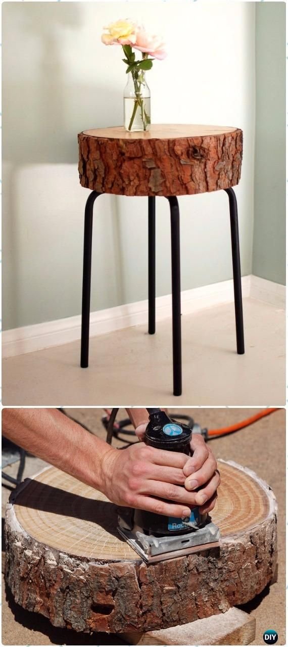 DIY Rustic Log Side Table Instructions - Raw Wood Logs and Stumps DIY Ideas Projects