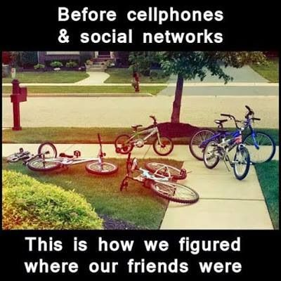 Finding friends before cell phones. Leave our bikes on the lawn.
