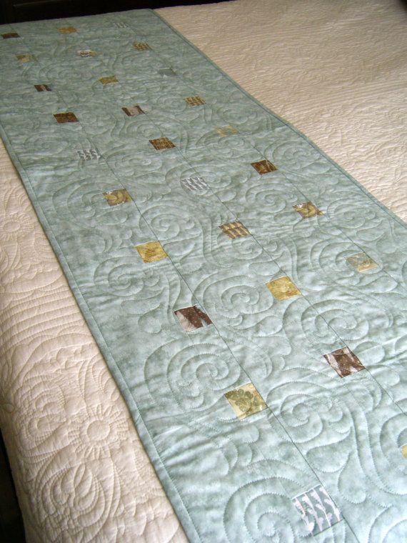 Modern Mint Bed Runner by derstinedesigns on Etsy, $140.00