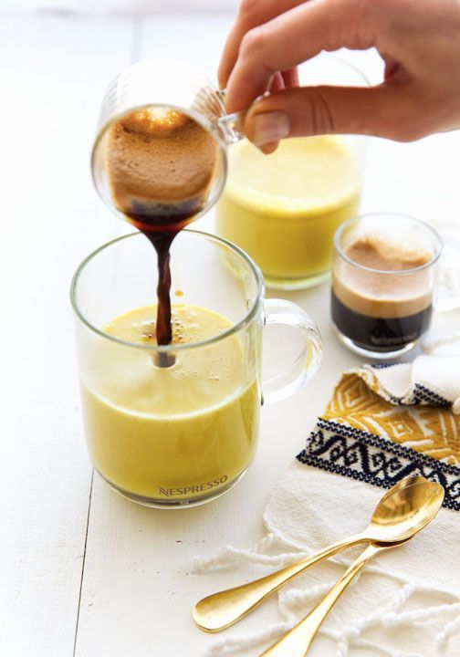 Add an exotic twist to your morning cup of coffee and soak up all of the health benefits of the classic Indian spice with this Turmeric Tea Latte. Made with the Nespresso VertuoLine Evoluo machine, this coffee creation is anything but ordinary!