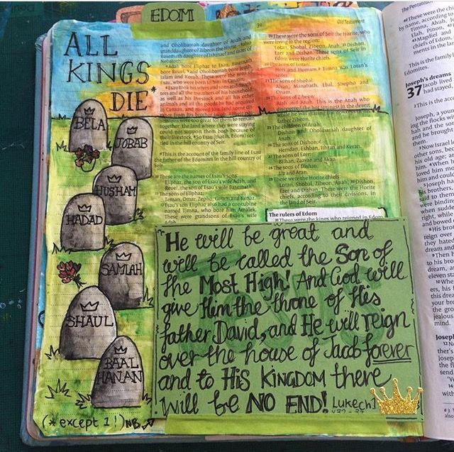 The Exceptional King. Draw Close Blog. All kings die except one! bible art journaling, death, Esau, Family tree, Genealogy, Genesis 36, King Jesus, Kings, legacy, Pirates, Sovereign, Tricky passage