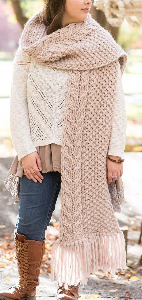 """Free Knitting Pattern for Laurel Frost Super Scarf - Fringed scarf knit in moss stitch bordered by a basic 4-row cable in super bulky yarn. 11"""" wide X 110"""" long (including fringe). Designed by Kalurah Hudson."""