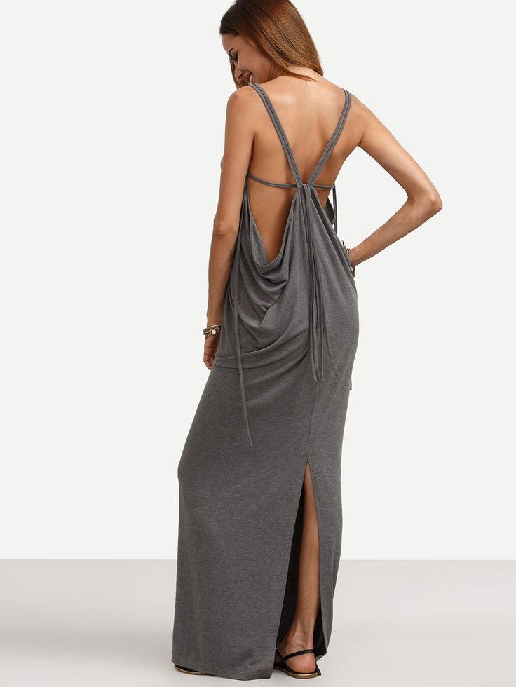 Shop Grey V Neck Backless Split Maxi Dress online. SheIn offers Grey V Neck Backless Split Maxi Dress & more to fit your fashionable needs.