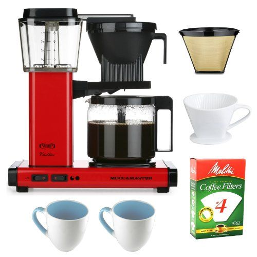 Technivorm KBG741 AO Red Metallic Moccamaster Glass Carafe Coffee Maker + Gold Tone Basket Coffee Filter + Porcelain Coffee Filter Cone Size 4 + Paper Filter #4 100-Pack + Permanent Cone Coffee Filter #4 + 2 pcs 16 oz. Stoneware Coffee Mug - http://teacoffeestore.com/technivorm-kbg741-ao-red-metallic-moccamaster-glass-carafe-coffee-maker-gold-tone-basket-coffee-filter-porcelain-coffee-filter-cone-size-4-paper-filter-4-100-pack-permanent-cone-coffee-filter/