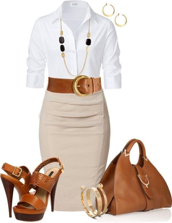 Look dia e noite:Blusa branca,saia bege e acessórios