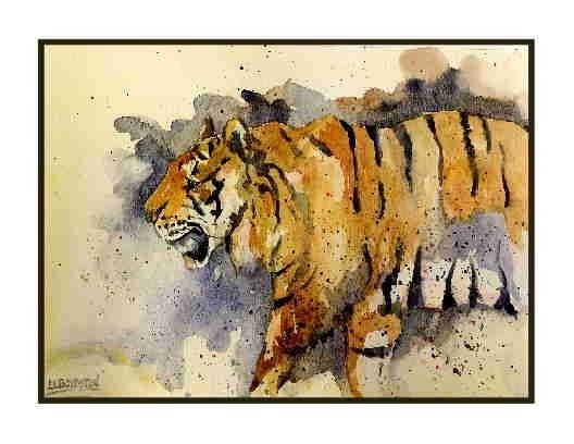 Set of  Six Watercolor Tiger Notecards Note by watercolorwork