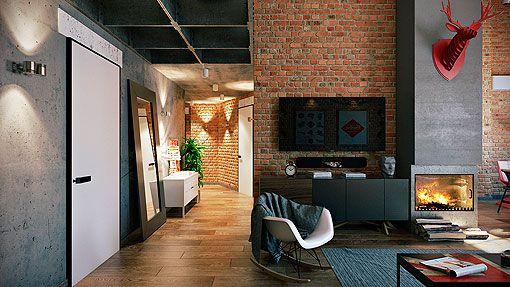 Loft con paredes de ladrillo visto