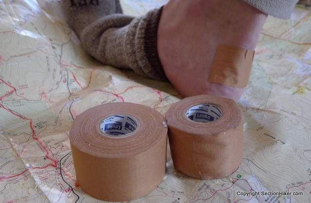 Protect your feet at all cost with the best and most appropriate footwear for your climate, thin wool socks, and now this. Leukotape can be used to protect spots on your feet that are prone to blisters.
