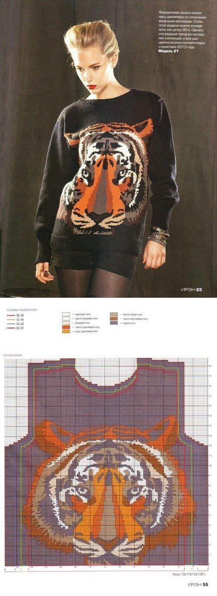 Вязаный спицами свитер с узором. Бесплатная схема узора   Домоводство   вязание(жаккард,вышивка)   Постила